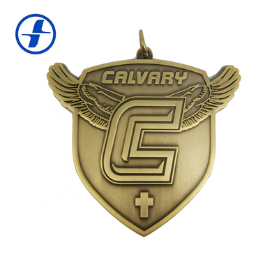 China Antique Gold Brass Custom Sports Medals And Ribbons , 3D Metal Plating Custom Race Medals supplier