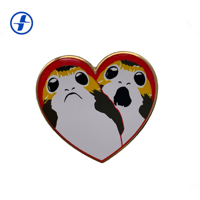 Personalized Custom Made Pin Badges , Heart Shaped Lapel Pins For Souvenir