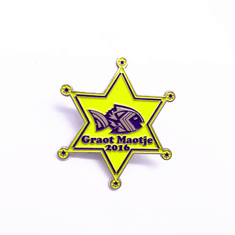 China Unique Design Metal Lapel Pins , Gold Plated Hard Enamel Badges supplier